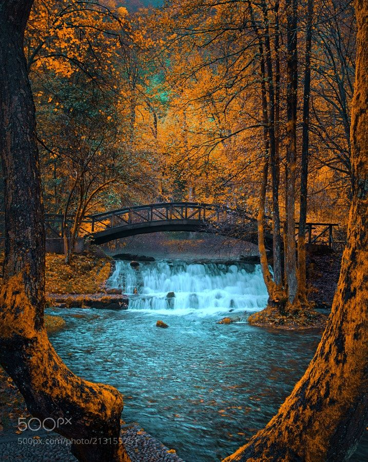 Waterfall - Waterfall (Nature Impression - Yellow) Bosnia river - Sarajevo Bosnia