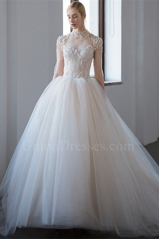fe3b60cf28fec Gorgeous Ball Gown High Neck Open Back Long Sleeves Beaded Lace Tulle Wedding  Dress