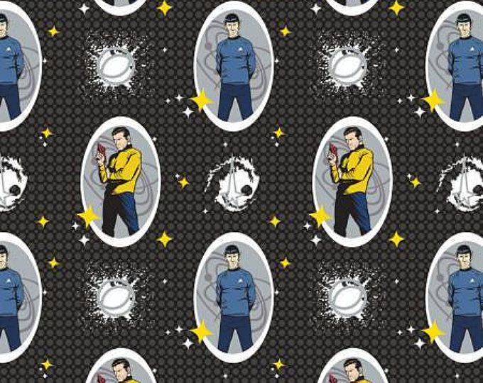 Black Star Trek Spock and Kirk Characters cotton Fabric by Camelot Fabrics