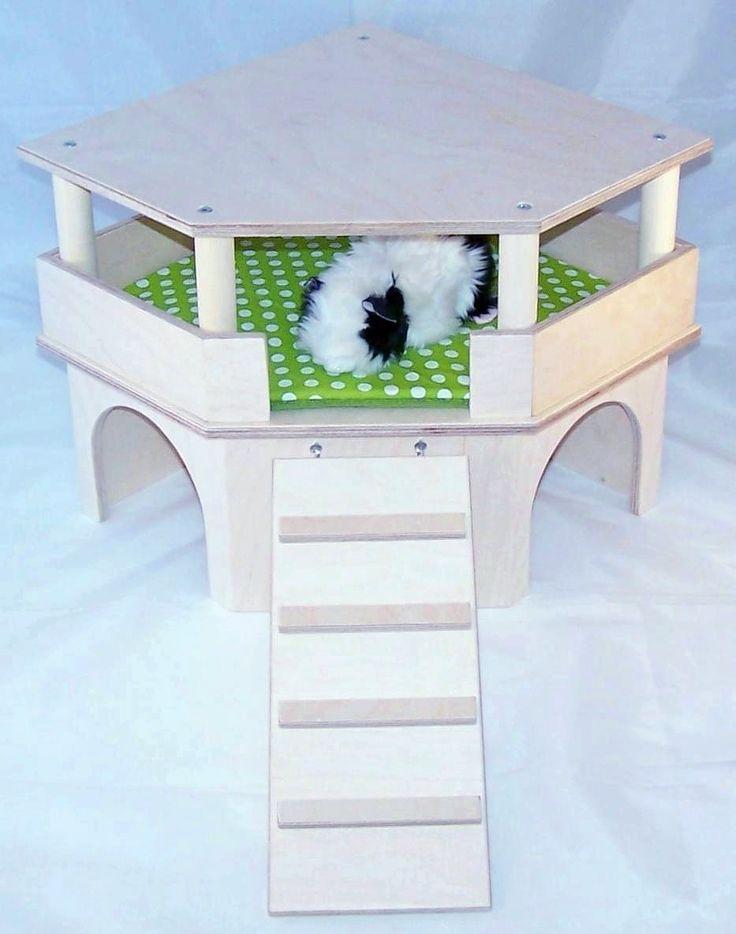 Wunderschönes Eckhaus für Meerschweinchen, Kleintiere mit schöner Aussicht, Leiter, Dach und urindichter Auflage