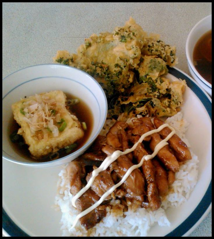 Teriyaki chicken, tempura kale, tofu agedashi and miso soup