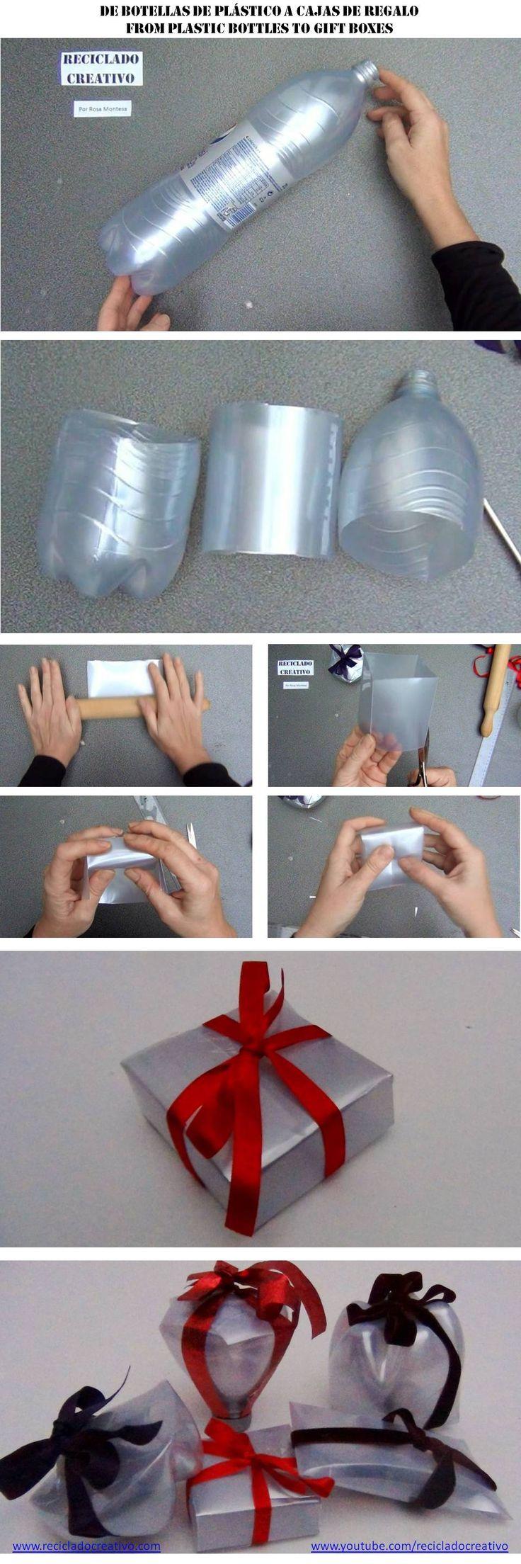 Cómo hacer una caja cuadrada con una botella de plástico reciclada