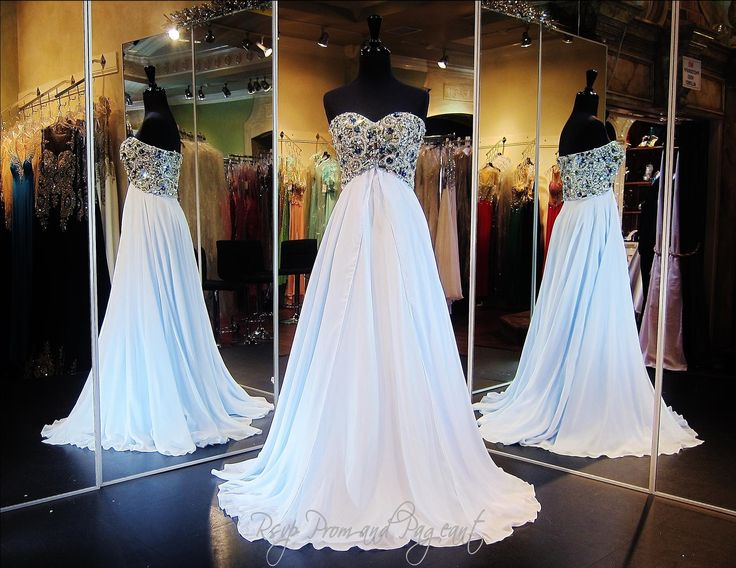 Light Blue Chiffon Prom or Pageant Dress-Strapless-Beaded Sweetheart Bodice-A Line Skirt-115JC0500200398 at Rsvp Prom and Pageant, Atlanta, GA