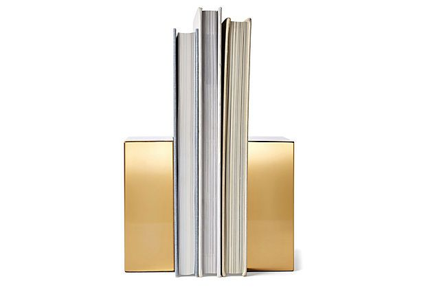 Pair of Gold-Plated Book Ends | Delight Dad | One Kings Lane