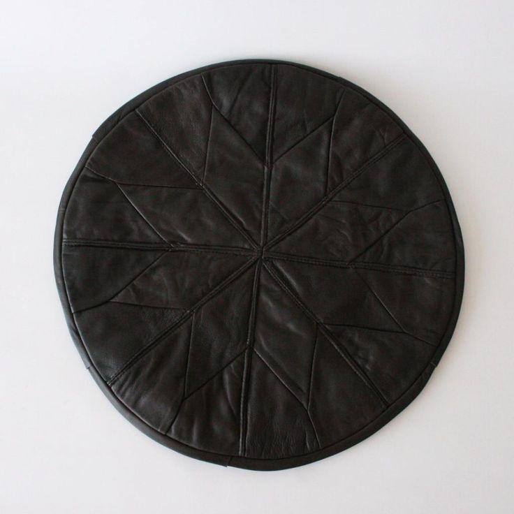 Grey Star Turkish Leather Pouffe