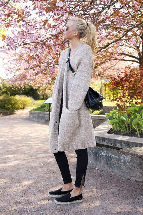 Silhouette- slim pant, sneakers, 3/4 length jacket or sweater