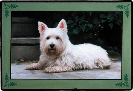Fiddler's Elbow Westie Porch Doormat by Fiddler's Elbow. $21.83. Non-skid backing. Proudly Made in USA. Weather and fade resistant. Wonderful accent for indoor or outdoor decor. Measures 18 inches by 27 inches. FED93 Features: -Material: 100pct polyester face.-Durable polypropylene web trim.-Non-skid rubber backing.-Permanently dye printed and fade resistant.-Made in the USA. Dimensions: -Dimensions: 27'' W X 18'' L.