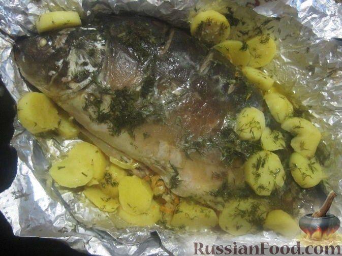 Рецепт: Карп в сметане с овощами, запеченный в духовке на RussianFood.com