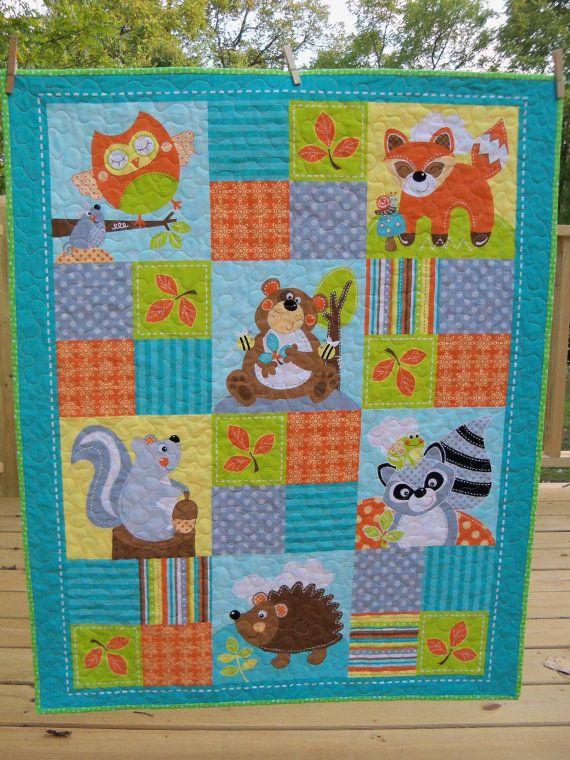 Modern Baby Quilt Woodland Creatures Handmade Nursery Crib