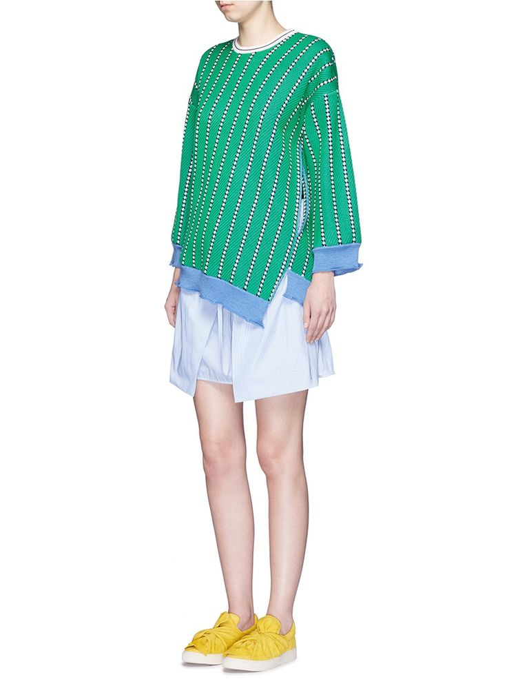 PORTS 1961 - Diagonal stripe virgin wool sweater | Multi-colour Cardigan Knitwear | Womenswear | Lane Crawford - Shop Designer Brands Online