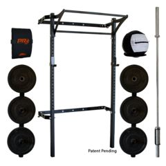 Fold-away design requires no disassembly! Our patented wall-mounted folding Profile® Squat Rack with Kipping Bar™ is the most convenient space-saving rack to hi