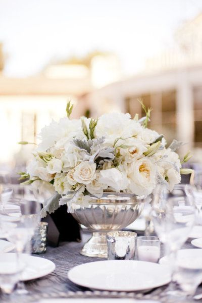 REVEL: White and Antique Silver Centerpiece #wedding #table #decor