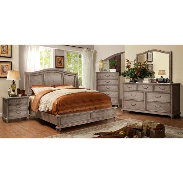 Furniture of America Minka Rustic Grey 4 Piece Bedroom Set   Free Shipping  Today. Top 25  best Grey bedroom set ideas on Pinterest   Farmhouse