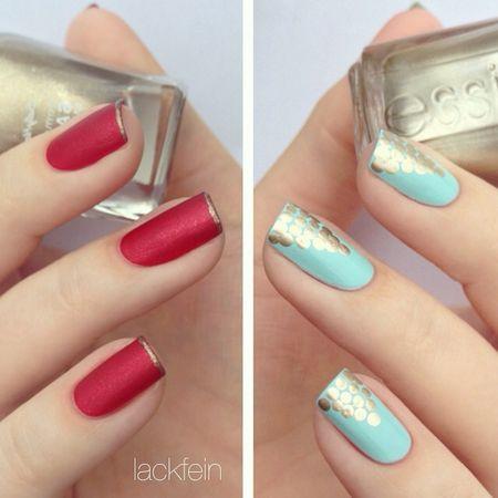 Pretty Metallic & Matte Dotted Mani #bluepolish #vdayred #redmatte #nails #nailart - bellashoot.com & bellashoot iPhone & iPad app