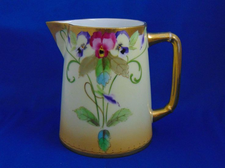 "Pickard Studios Charles Martin Limoges Pansy Design Pitcher (Signed ""E. Gibson""/c.1903-1905)"