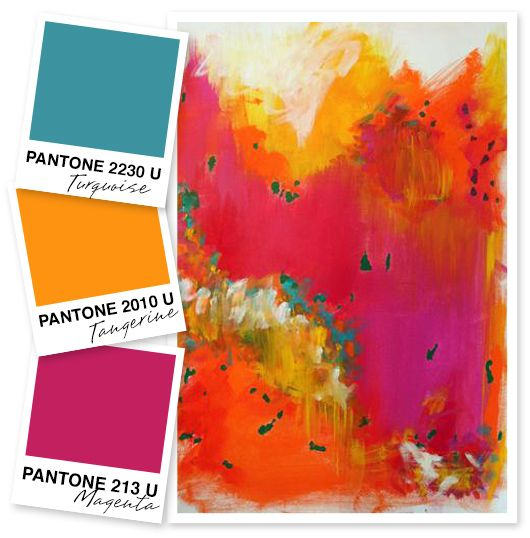 Teal Orange And Pink Color Palette Inspiration Painting Art