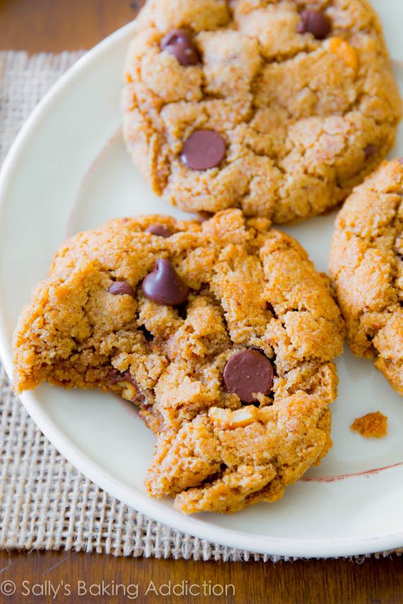 Almond Butter Chocolate Chip Cookies ~ Made flourless with only 5 ingredients. These are ready in less than 30 minutes!