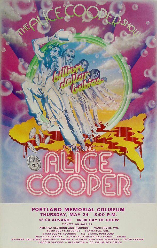 "ALICE COOPER 1973 ""Billion Dollar Babies"" Tour Poster for Portland Memorial…"