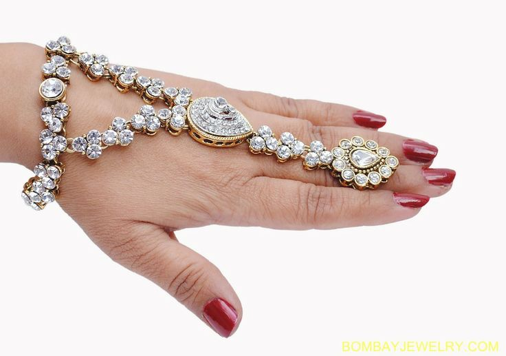 Bracelets with ring   ... white crystal hand ring bracelet - available in White color