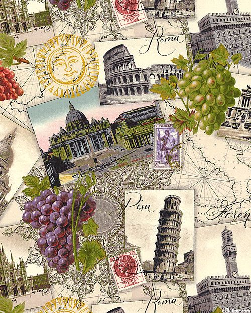 "Italian Vineyards - Wine Tour of Italy - Parchment. ""Italian Vineyards"" collection: Elizabeth's Studio. eQuilters.com"
