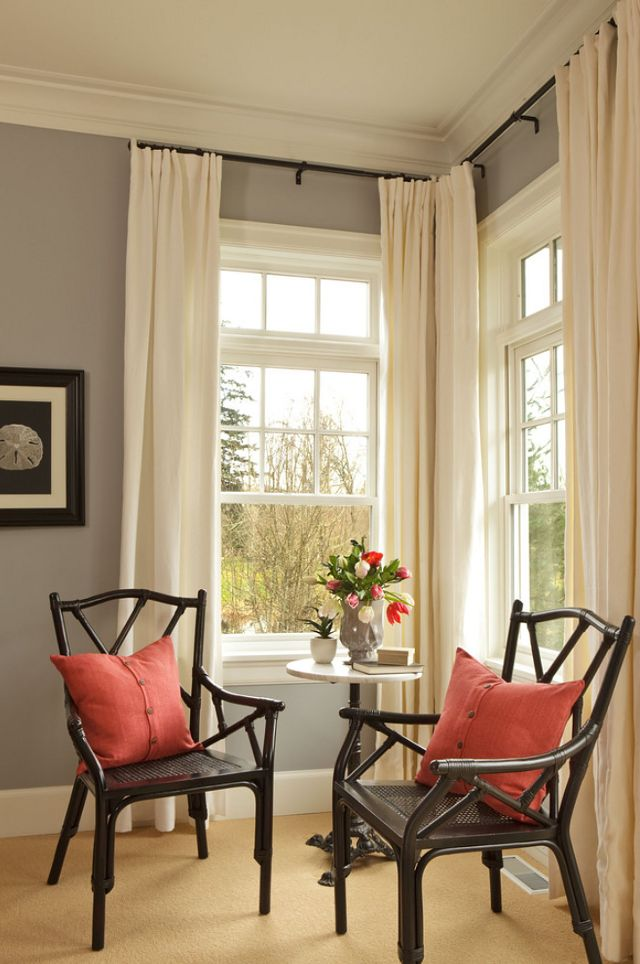 ...Always hang the curtain rods higher than the window to make the window appear taller & larger