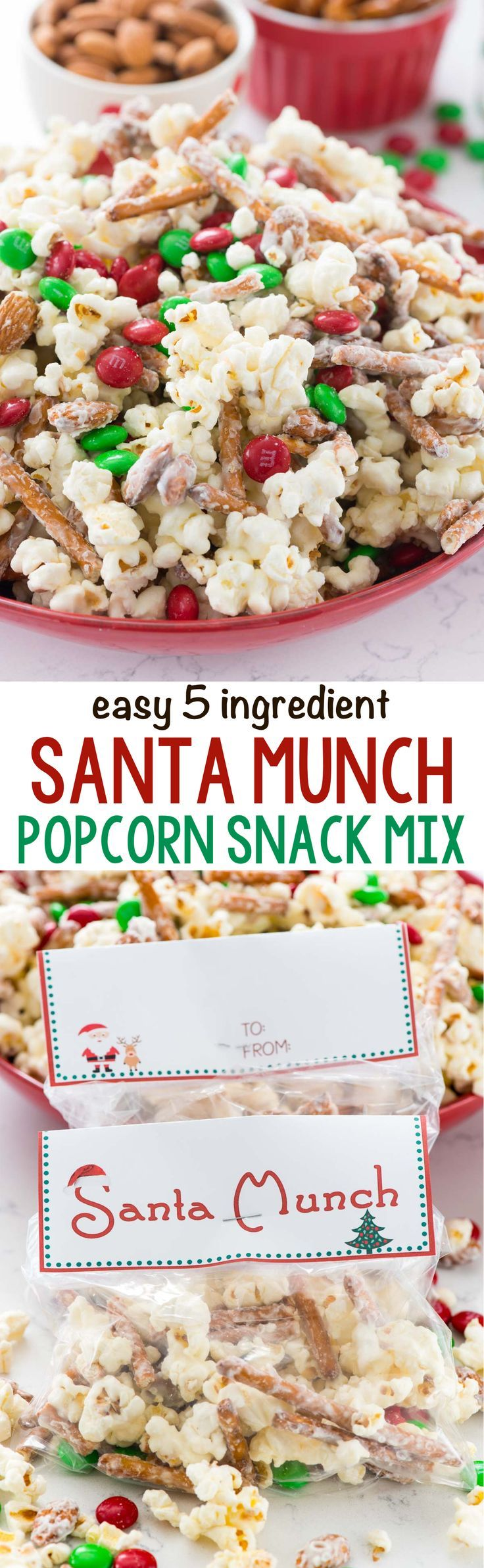 Santa Munch - this EASY 5 ingredient Popcorn Snack Mix is coated in white chocolate and makes the perfect snack for Christmas! Santa loves it...but the kids do too! Make them as goodie bags with the free printable!