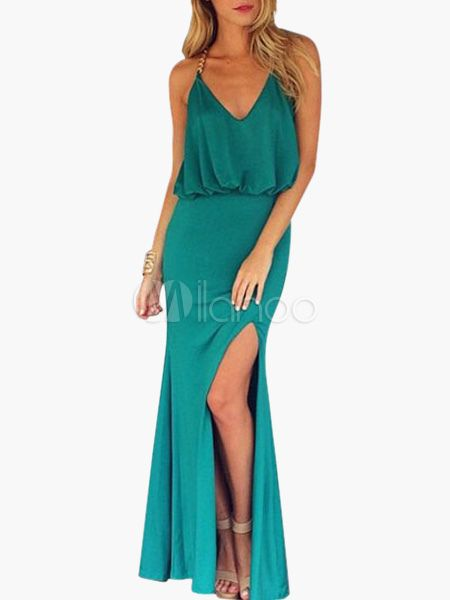 Spagetti Neckline Split Sleeveless Polyester Backless Woman's Maxi Dress