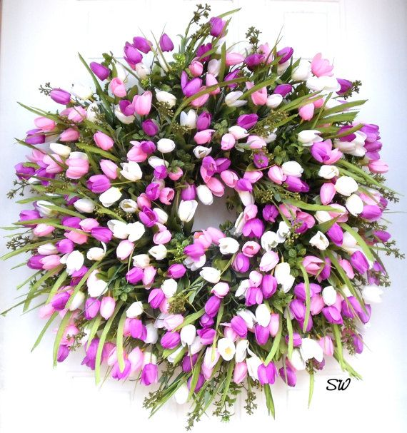 "Spring Tulip Wreath-Easter Wreath-Wispy 26+"" Wreath~Mother's Day wreath-Door Wreath-Wall wreath-Memorial Wreath~Pink, Purple, white, Full"
