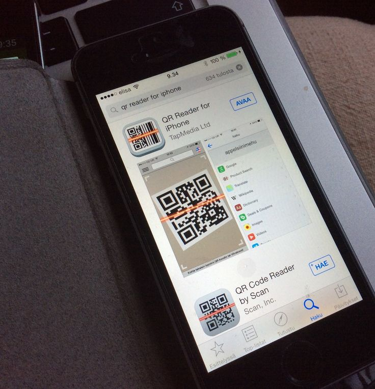 QR-reader for iPhone. Sovelluksella voi skannata QR-koodeja ja myös tehdä omia QR-koodeja.