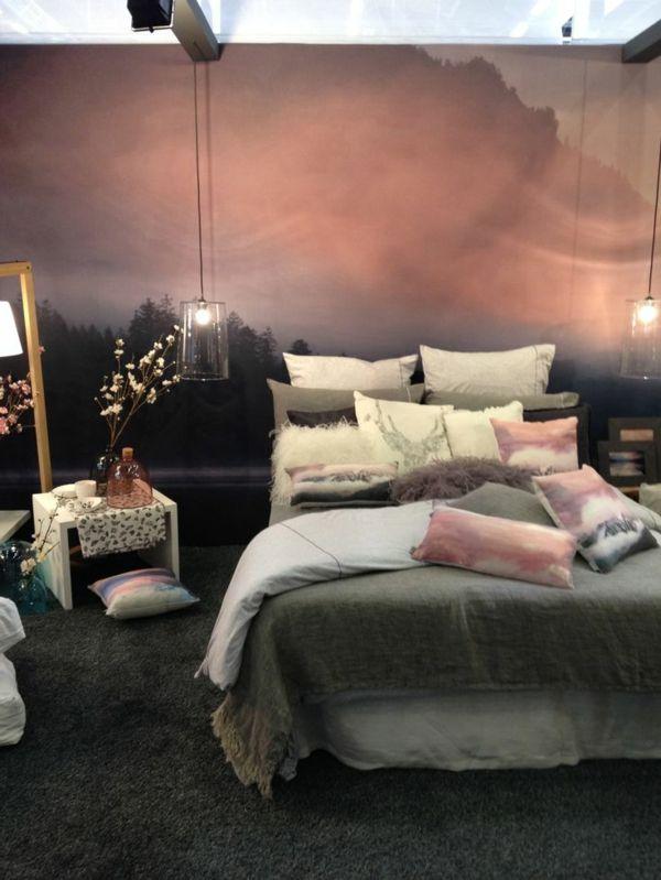 fototapete schlafzimmer gebirge sonnenuntergang