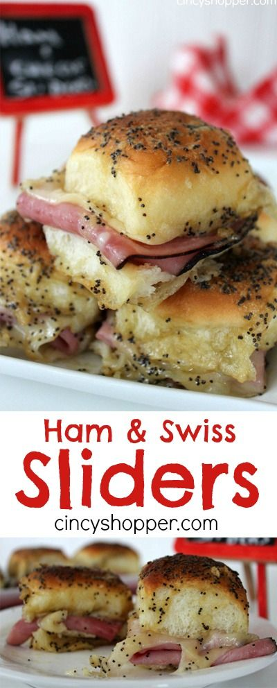 Ham and Swiss Sliders Recipe- Loaded with ham, swiss cheese and a mustard sauce all baked up to perfection. These sandwiches are delicious and over the top messy (in a good way). Perfect for game day or any party.