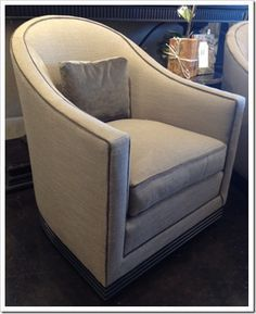 living room swivel chair in shimmery grey linen