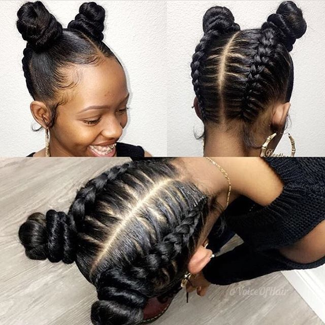 "Love these ""upside down glam braids buns"" styled by #LaStylist @iamglamfreak on @_dess  So different and pretty #voiceofhair========================== Go to VoiceOfHair.com ========================= Find hairstyles and hair tips! ========================="