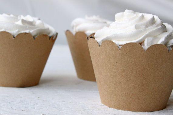 Kraft Paper Cupcake Wrappers Cupcake Birthday Party Cupcake Wrapper Brown Kraft Paper Muffin Cups - Set of 12