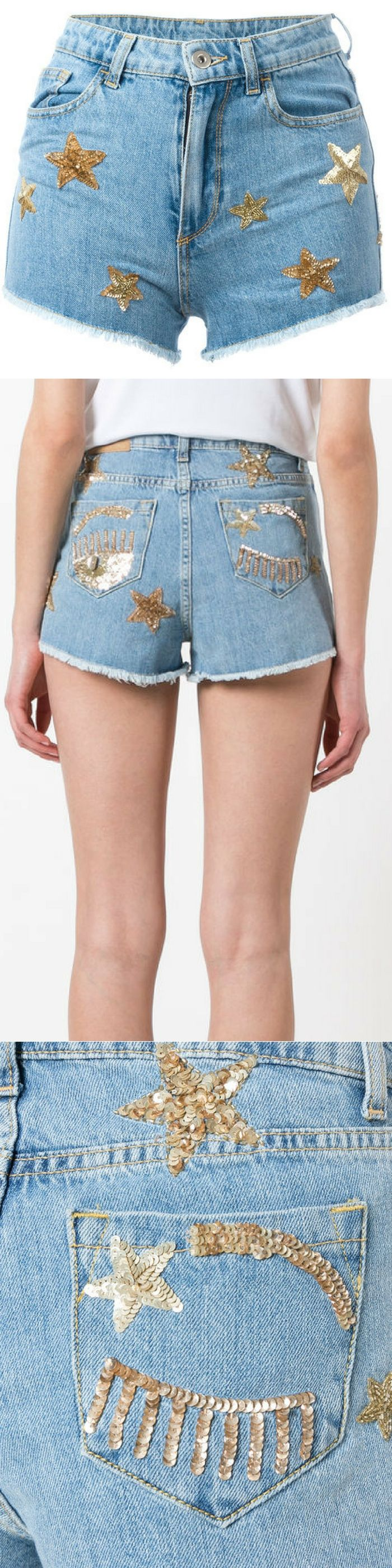 Chiara Ferragni Flirting shorts with gold star (gold sequins)