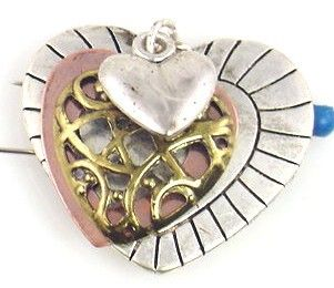 1 heart layered 2 hole slider bead with charms 9299 - Mobile Boutique