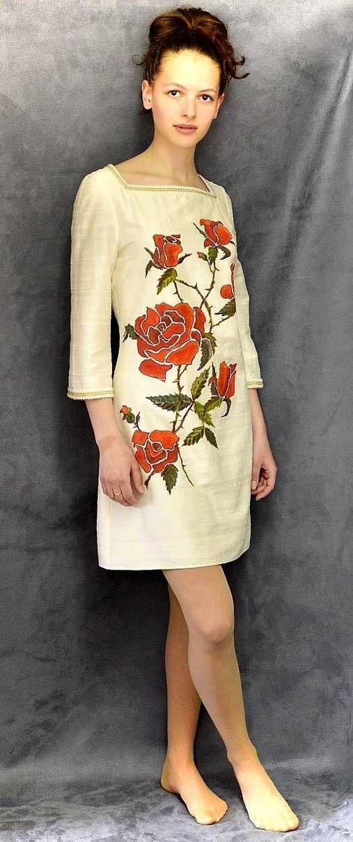 Angeli / Hodvábne šaty s maľovanými ružami-ZĽAVA 30 %!!!
