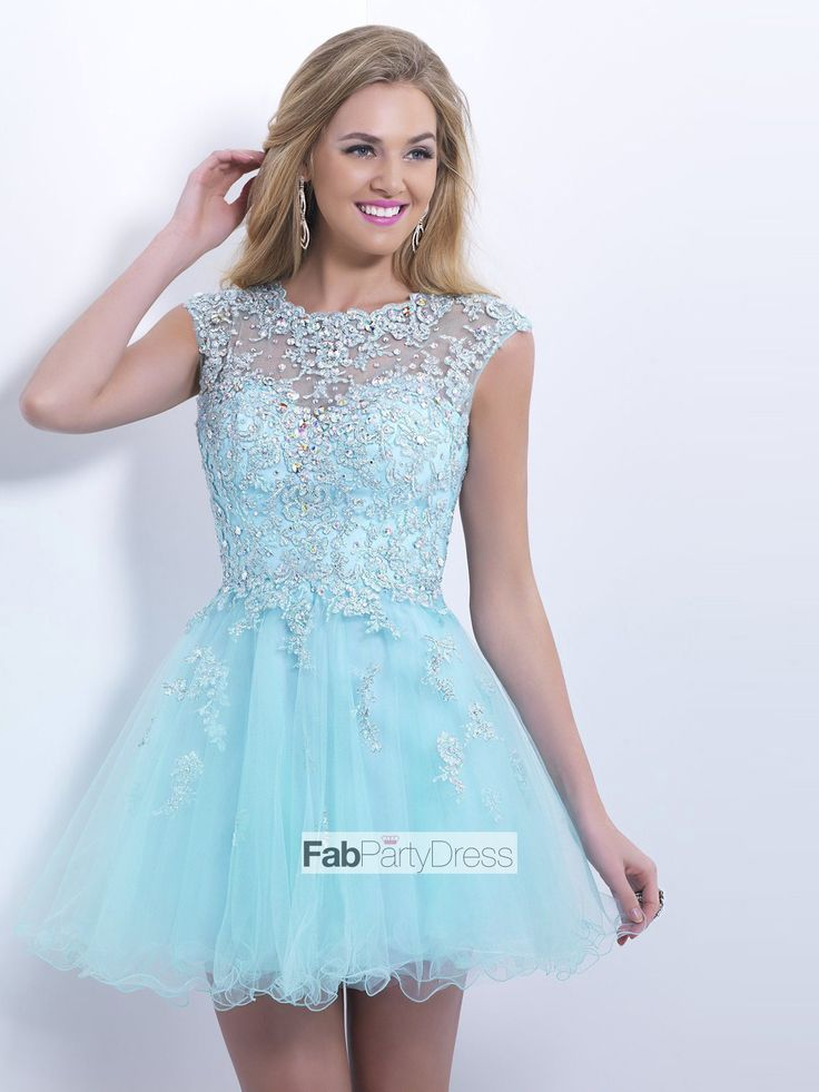 A-line+Scoop++Applique++Sleeveless+Short+/+Mini++Tulle++Cocktail+Dresses+/+Homecoming+Dresses+