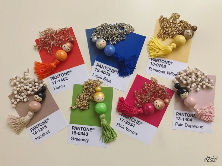 Handpainted wooden bead dolls ~ necklaces with tassel