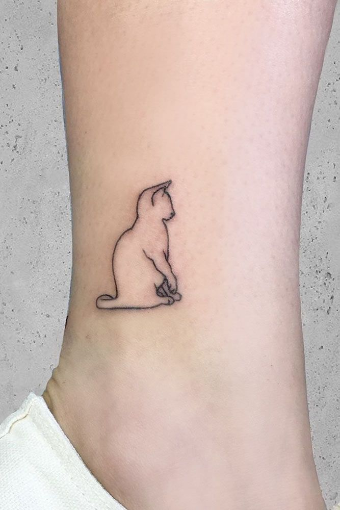 Simple Outline Ankle Tattoo Outlinetattoo Simpletattoo Simple Small Or Tiny Minimalistic Water Minimalist Cat Tattoo Cat Tattoo Small Cat Tattoo Designs