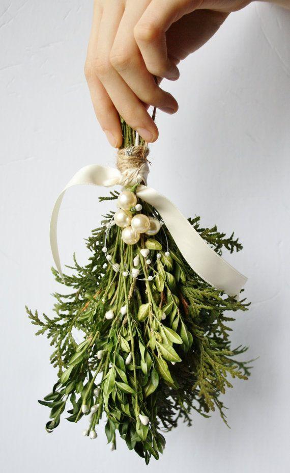 Mistletoe Kissing Ball Christmas Decor Winter Wedding Decor Holiday Boxwood  Greenery Holiday Decor Christmas Mistletoe Cedar