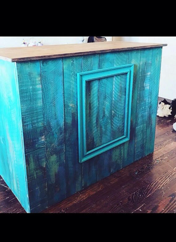 Beautiful distressed cash counter/reception desk for your shop or office. Made to order in different measurements and colors. Price varies depending on size design. Contact us to discuss your ideas, wed love to hear from you!! Dimensions for this cash wrap: 52.5Long 24Wide 39High