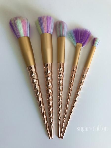 Our brand new Gold Unicorn brushes are FINALLY here!  Glimmering golden handles Ultra-soft rainbow brush heads Only 50 more sets available (we'll restock in the next few months) Free Worldwide Shipping & 100% Money-Back Guarantee  Beautiful makeup brushes to enchant your inner unicorn! Features gold horn handles and super soft multi-color bristles. Completed with a gold setting. Also - all materials are vegan (no unicorns, or any animals were harmed in the making of our brushes ...