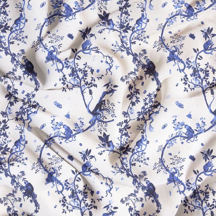 New! The MONKEY WORLD print is now available on fabric in blue! Choose from cotton, satin, eco canvas, denim, sport lycra, poplin, piqué, chiffon, organic gauze, crepe de chine, knit, jersey, spandex... and many more!  #fifikoussout #print #homedecor #interior #toile #jouy #monkey #japonisme #chinoiserie #textile  #diy #craft #fabric #tissu #tyg #couture #sewing #sew #SpoonFlower