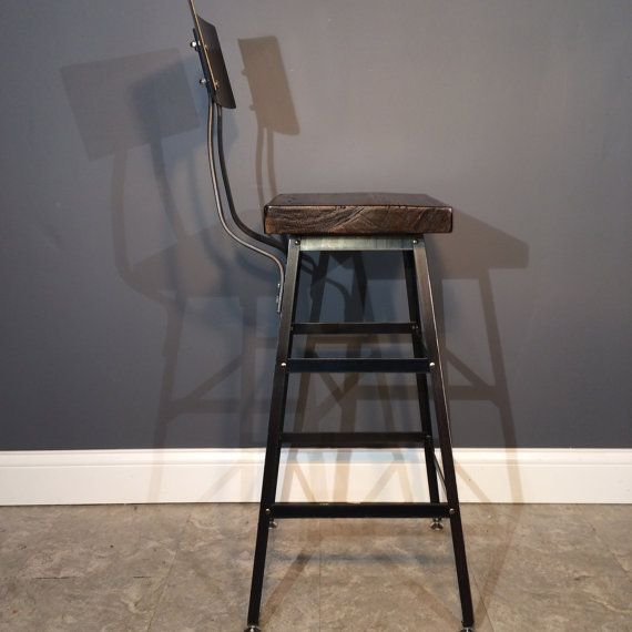 Reclaimed Urban Wood Seating Industrial Bar Stool Chair With /Steel Back -Industrial Modern-From Salvaged Barn Wood- Etsy & 25 best kitchen stools images on Pinterest | Kitchen stools ... islam-shia.org