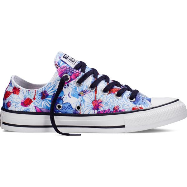 Converse Chuck Taylor All Star Floral Print – spray paint blue... ($55) ❤ liked on Polyvore featuring shoes, sneakers, spray paint blue, converse trainers, converse shoes, floral shoes, floral printed shoes and blue sneakers