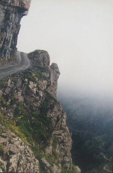 BAYBURT OF YOLU-D915:  One of the most challenging roads in the world, this road is extreme.  Located in the Trabzon province, Turkey, it is bordered by a drop of hundreds of meters unprotected by guardrails.