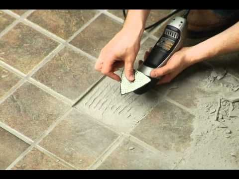 Removing Broken Floor Tile: Dremel Multi-Max