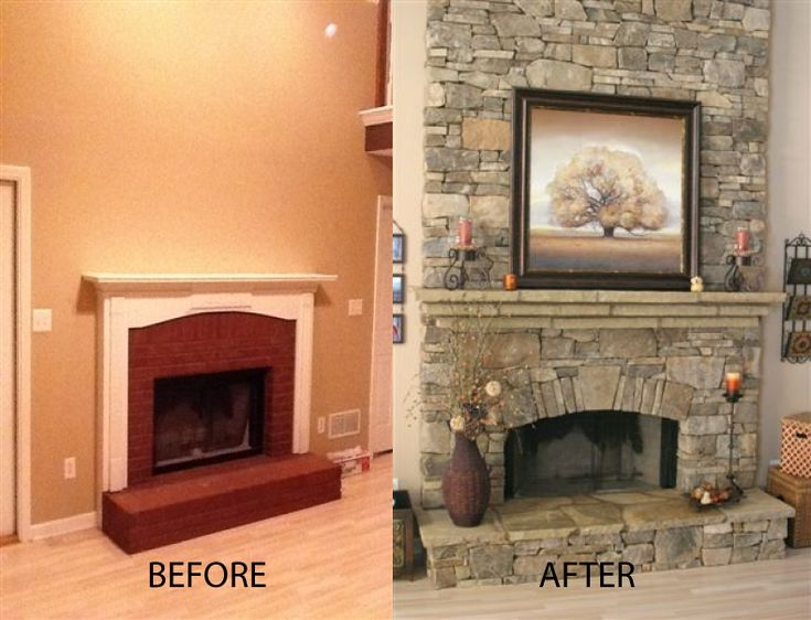 Have an ugly fireplace fix it up by using daco 39 s real for Stone fireplace makeover ideas