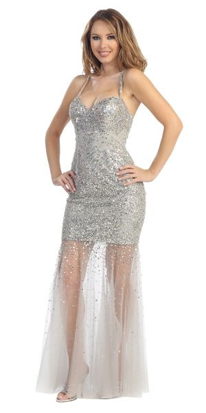 An elegant sequin mermaid dress with tulle material that covers bottom of dress
